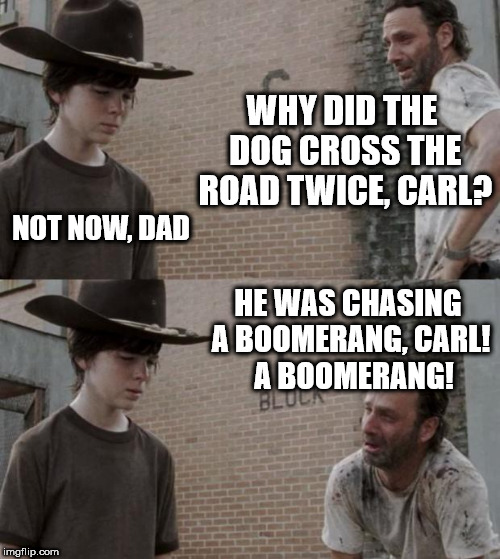 Rick and Carl Meme | WHY DID THE DOG CROSS THE ROAD TWICE, CARL? NOT NOW, DAD HE WAS CHASING A BOOMERANG, CARL!  A BOOMERANG! | image tagged in memes,rick and carl | made w/ Imgflip meme maker