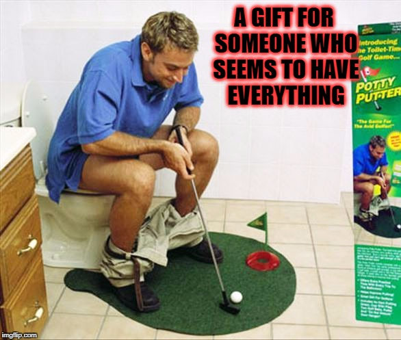 the potty putter | A GIFT FOR SOMEONE WHO SEEMS TO HAVE EVERYTHING | image tagged in memes,golfing,toilet humor | made w/ Imgflip meme maker