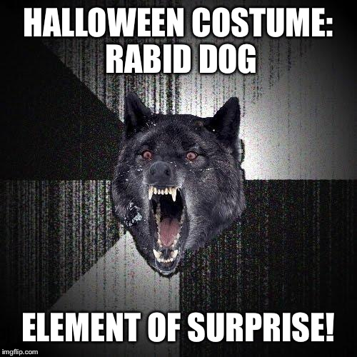 Insanity Wolf Meme | HALLOWEEN COSTUME: RABID DOG ELEMENT OF SURPRISE! | image tagged in memes,insanity wolf | made w/ Imgflip meme maker
