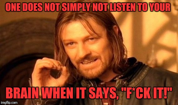 "One Does Not Simply Meme | ONE DOES NOT SIMPLY NOT LISTEN TO YOUR BRAIN WHEN IT SAYS, ""F*CK IT!"" 