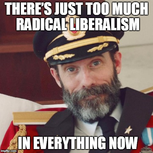 Captain Obvious | THERE'S JUST TOO MUCH RADICAL LIBERALISM IN EVERYTHING NOW | image tagged in captain obvious | made w/ Imgflip meme maker
