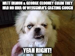 yeah right  | MATT DAMON & GEORGE CLOONEY CLAIM THEY HAD NO IDEA OF WEISSMAN'S CASTING COUCH YEAH RIGHT! | image tagged in yeah right | made w/ Imgflip meme maker