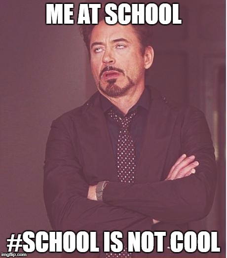 Face You Make Robert Downey Jr Meme | ME AT SCHOOL #SCHOOL IS NOT COOL | image tagged in memes,face you make robert downey jr | made w/ Imgflip meme maker