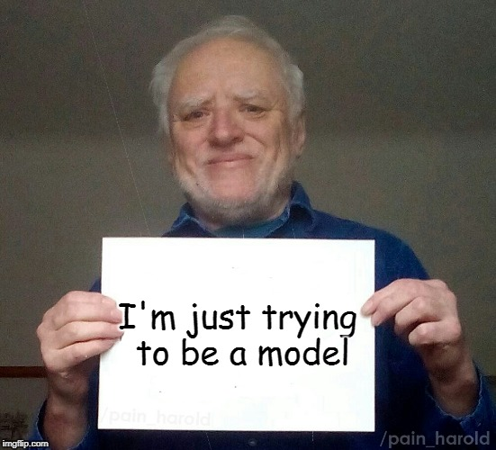 I think we are ruining someones career | I'm just trying to be a model | image tagged in harold blank,memes,model,career | made w/ Imgflip meme maker