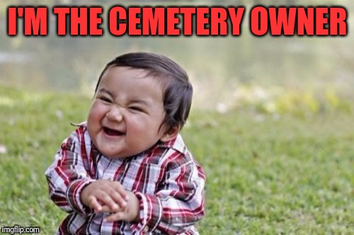 Evil Toddler Meme | I'M THE CEMETERY OWNER | image tagged in memes,evil toddler | made w/ Imgflip meme maker