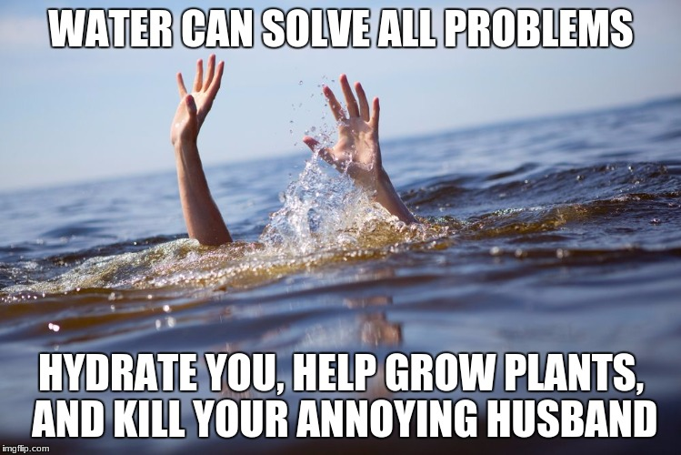 drowning | WATER CAN SOLVE ALL PROBLEMS HYDRATE YOU, HELP GROW PLANTS, AND KILL YOUR ANNOYING HUSBAND | image tagged in drowning | made w/ Imgflip meme maker