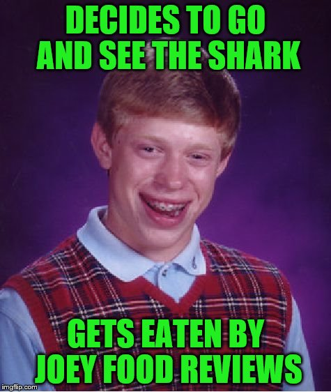 Bad Luck Brian Meme | DECIDES TO GO AND SEE THE SHARK GETS EATEN BY JOEY FOOD REVIEWS | image tagged in memes,bad luck brian | made w/ Imgflip meme maker