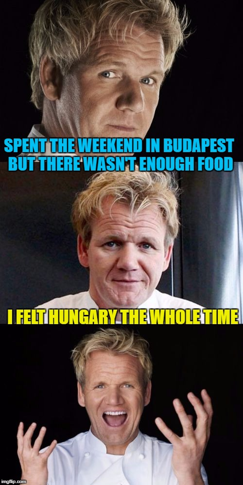 Feed me Gordon Ramsey | SPENT THE WEEKEND IN BUDAPEST BUT THERE WASN'T ENOUGH FOOD I FELT HUNGARY THE WHOLE TIME | image tagged in bad pun chef,memes,chef gordon ramsay,hungry,dinner,cooking | made w/ Imgflip meme maker