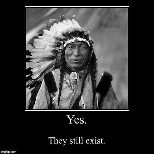 Again,This is for the class project. | Yes. | They still exist. | image tagged in funny,demotivationals,native american | made w/ Imgflip demotivational maker