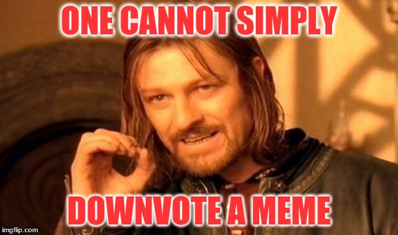 One Does Not Simply Meme | ONE CANNOT SIMPLY DOWNVOTE A MEME | image tagged in memes,one does not simply | made w/ Imgflip meme maker