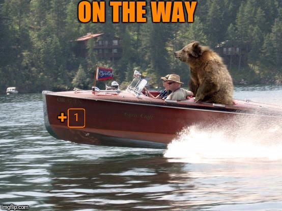 Bear on a boat | ON THE WAY + | image tagged in bear on a boat | made w/ Imgflip meme maker