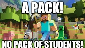 A PACK! NO PACK OF STUDENTS! | image tagged in minecraft | made w/ Imgflip meme maker