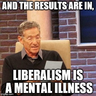 Maury Lie Detector Meme | AND THE RESULTS ARE IN, LIBERALISM IS A MENTAL ILLNESS | image tagged in memes,maury lie detector | made w/ Imgflip meme maker