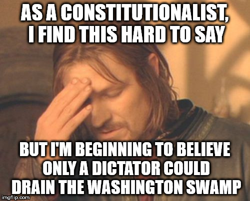 Frustrated Boromir Meme | AS A CONSTITUTIONALIST, I FIND THIS HARD TO SAY BUT I'M BEGINNING TO BELIEVE ONLY A DICTATOR COULD DRAIN THE WASHINGTON SWAMP | image tagged in memes,frustrated boromir | made w/ Imgflip meme maker