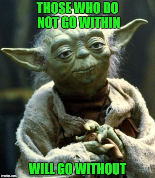 Yoda deep thought within | THOSE WHO DO NOT GO WITHIN WILL GO WITHOUT | image tagged in memes,star wars yoda | made w/ Imgflip meme maker