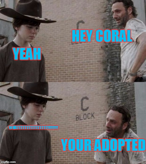 Rick and Carl Meme | HEY CORAL YEAH YOUR ADOPTED WHATTTTTTTTTTTTTTTT!!!!!!!!!! | image tagged in memes,rick and carl | made w/ Imgflip meme maker