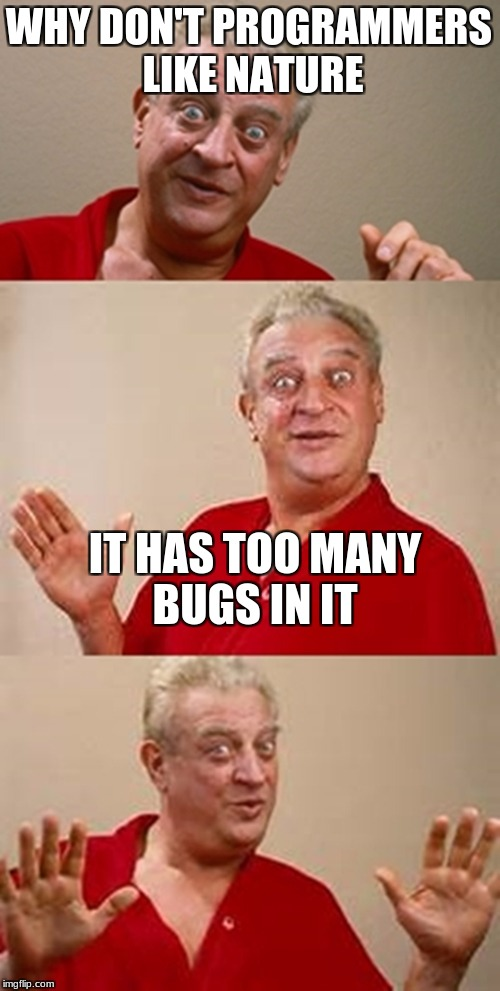bad pun Dangerfield  | WHY DON'T PROGRAMMERS LIKE NATURE IT HAS TOO MANY BUGS IN IT | image tagged in bad pun dangerfield | made w/ Imgflip meme maker