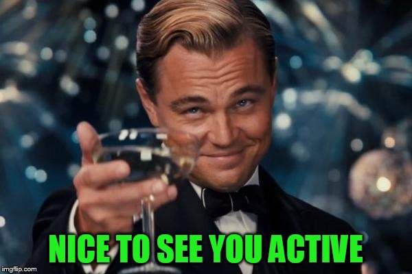 Leonardo Dicaprio Cheers Meme | NICE TO SEE YOU ACTIVE | image tagged in memes,leonardo dicaprio cheers | made w/ Imgflip meme maker