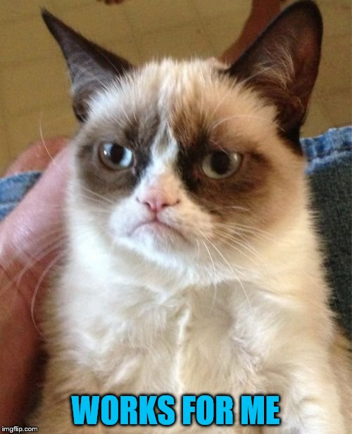 Grumpy Cat Meme | WORKS FOR ME | image tagged in memes,grumpy cat | made w/ Imgflip meme maker