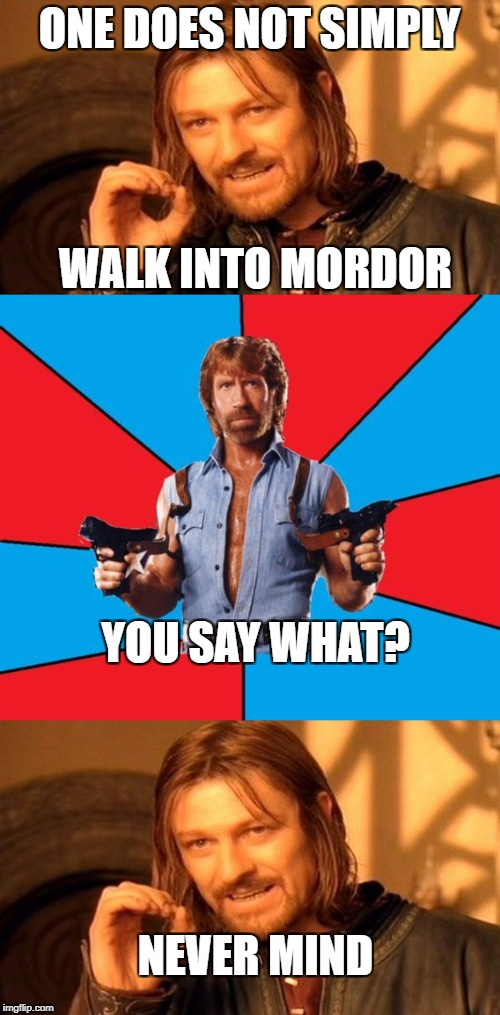Can't deny Chuck for entrance | ONE DOES NOT SIMPLY WALK INTO MORDOR YOU SAY WHAT? NEVER MIND | image tagged in memes,one does not simply,chuck norris,dank memes,funny,lord of the rings | made w/ Imgflip meme maker