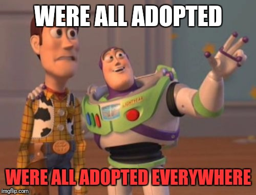 X, X Everywhere Meme | WERE ALL ADOPTED WERE ALL ADOPTED EVERYWHERE | image tagged in memes,x,x everywhere,x x everywhere | made w/ Imgflip meme maker