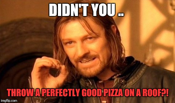 One Does Not Simply Meme | DIDN'T YOU .. THROW A PERFECTLY GOOD PIZZA ON A ROOF?! | image tagged in memes,one does not simply | made w/ Imgflip meme maker
