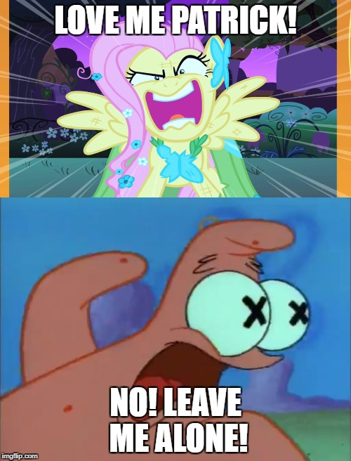 Love me Patrick | LOVE ME PATRICK! NO! LEAVE ME ALONE! | image tagged in fluttershy | made w/ Imgflip meme maker