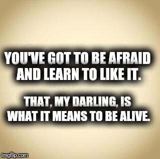 blank | YOU'VE GOT TO BE AFRAID AND LEARN TO LIKE IT. THAT, MY DARLING, IS WHAT IT MEANS TO BE ALIVE. | image tagged in blank | made w/ Imgflip meme maker
