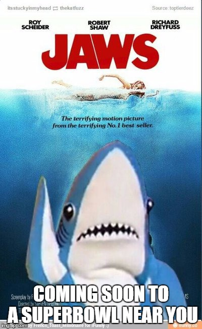 COMING SOON TO A SUPERBOWL NEAR YOU | image tagged in jaws | made w/ Imgflip meme maker