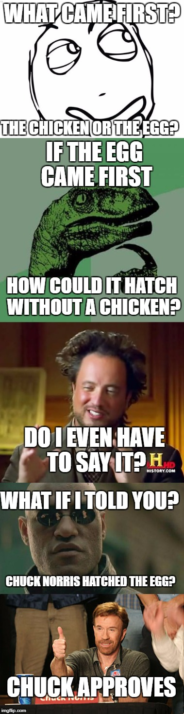 *Maybe* the aliens came first....no shit the chicken came first | WHAT CAME FIRST? THE CHICKEN OR THE EGG? IF THE EGG CAME FIRST HOW COULD IT HATCH WITHOUT A CHICKEN? DO I EVEN HAVE TO SAY IT? WHAT IF I TOL | image tagged in memes,philosoraptor,dank memes,ancient aliens,matrix morpheus,chuck norris | made w/ Imgflip meme maker