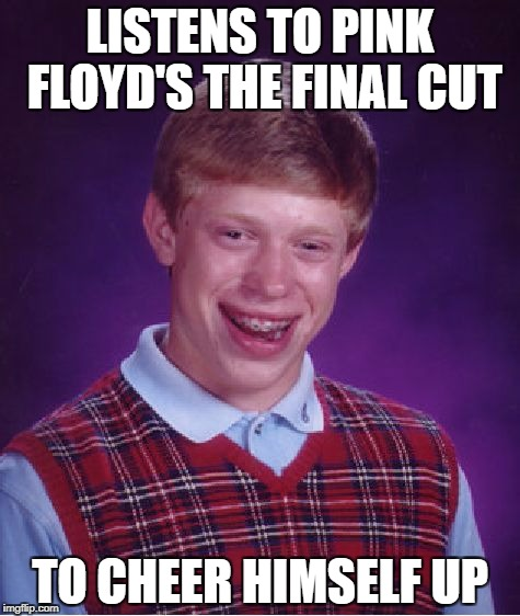 Bad Luck Brian Meme | LISTENS TO PINK FLOYD'S THE FINAL CUT TO CHEER HIMSELF UP | image tagged in memes,bad luck brian | made w/ Imgflip meme maker