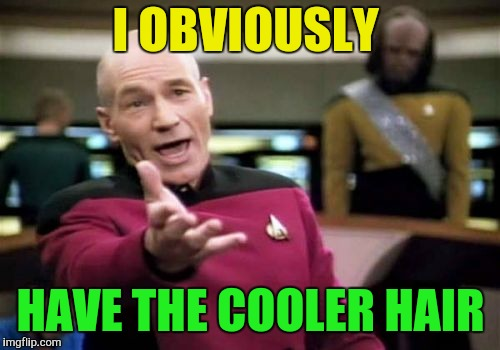 Picard Wtf Meme | I OBVIOUSLY HAVE THE COOLER HAIR | image tagged in memes,picard wtf | made w/ Imgflip meme maker