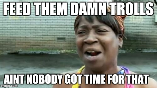 Aint Nobody Got Time For That Meme | FEED THEM DAMN TROLLS AINT NOBODY GOT TIME FOR THAT | image tagged in memes,aint nobody got time for that | made w/ Imgflip meme maker