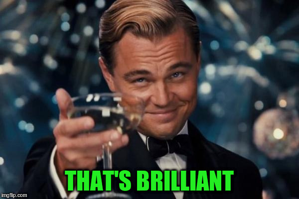 Leonardo Dicaprio Cheers Meme | THAT'S BRILLIANT | image tagged in memes,leonardo dicaprio cheers | made w/ Imgflip meme maker