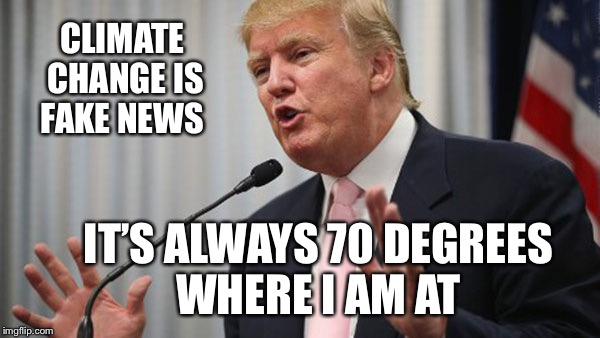 Trump Huge | CLIMATE CHANGE IS FAKE NEWS IT'S ALWAYS 70 DEGREES WHERE I AM AT | image tagged in trump huge | made w/ Imgflip meme maker