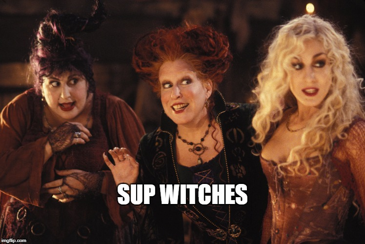 sup witches | SUP WITCHES | image tagged in hocus pocus | made w/ Imgflip meme maker
