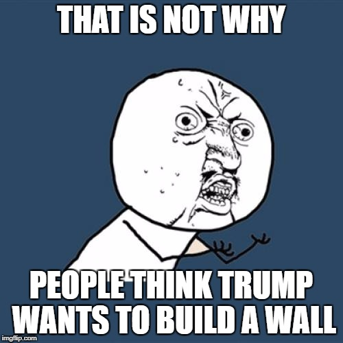 Y U No Meme | THAT IS NOT WHY PEOPLE THINK TRUMP WANTS TO BUILD A WALL | image tagged in memes,y u no | made w/ Imgflip meme maker