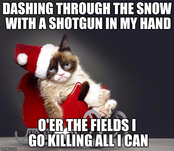 Grumpy Cat Christmas HD | DASHING THROUGH THE SNOW WITH A SHOTGUN IN MY HAND O'ER THE FIELDS I GO KILLING ALL I CAN | image tagged in grumpy cat christmas hd | made w/ Imgflip meme maker