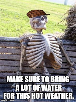 Waiting Skeleton Meme | MAKE SURE TO BRING A LOT OF WATER FOR THIS HOT WEATHER. | image tagged in memes,waiting skeleton,scumbag | made w/ Imgflip meme maker