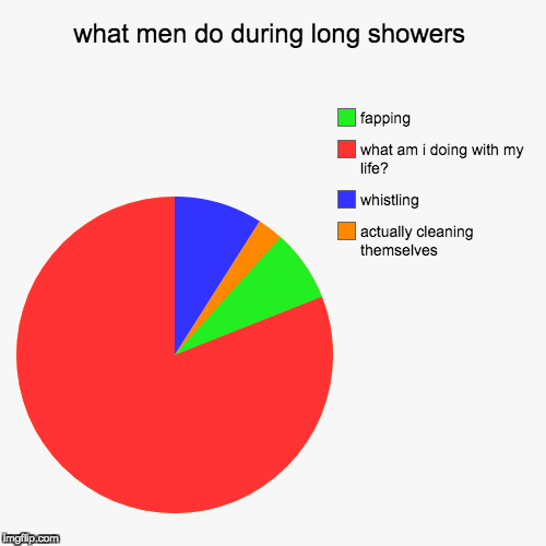 what men do during showers | what men do during long showers | actually cleaning themselves, whistling, what am i doing with my life?, fapping | image tagged in funny,pie charts,nsfw | made w/ Imgflip pie chart maker