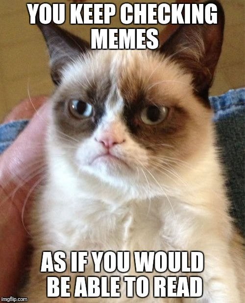Grumpy Cat Meme | YOU KEEP CHECKING MEMES AS IF YOU WOULD BE ABLE TO READ | image tagged in memes,grumpy cat | made w/ Imgflip meme maker