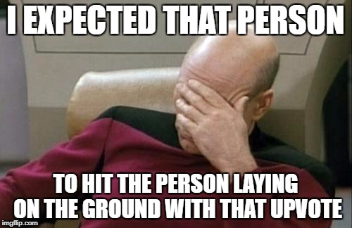 Captain Picard Facepalm Meme | I EXPECTED THAT PERSON TO HIT THE PERSON LAYING ON THE GROUND WITH THAT UPVOTE | image tagged in memes,captain picard facepalm | made w/ Imgflip meme maker