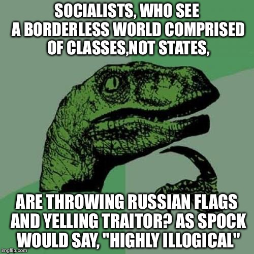 Philosoraptor Meme | SOCIALISTS, WHO SEE A BORDERLESS WORLD COMPRISED OF CLASSES,NOT STATES, ARE THROWING RUSSIAN FLAGS AND YELLING TRAITOR? AS SPOCK WOULD SAY,  | image tagged in memes,philosoraptor | made w/ Imgflip meme maker