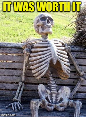 Waiting Skeleton Meme | IT WAS WORTH IT | image tagged in memes,waiting skeleton | made w/ Imgflip meme maker