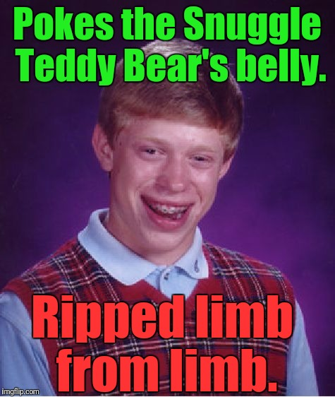 Don't go pokin' THE BEAR....just ask Papa Bear Bill O'Reilly. | Pokes the Snuggle Teddy Bear's belly. Ripped limb from limb. | image tagged in memes,bad luck brian,teddy bear mauling,corporate mascots,snuggle fabric softener teddy bear,funny | made w/ Imgflip meme maker
