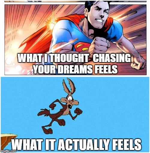Chasing dreams | WHAT I THOUGHT  CHASING YOUR DREAMS FEELS WHAT IT ACTUALLY FEELS | image tagged in chasing dreams,superman,wile e coyote,comparison | made w/ Imgflip meme maker