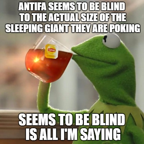 But Thats None Of My Business Meme | ANTIFA SEEMS TO BE BLIND TO THE ACTUAL SIZE OF THE SLEEPING GIANT THEY ARE POKING SEEMS TO BE BLIND IS ALL I'M SAYING | image tagged in memes,but thats none of my business,kermit the frog | made w/ Imgflip meme maker