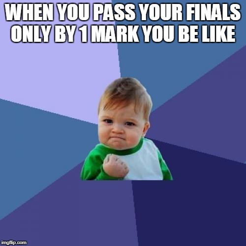 Success Kid Meme | WHEN YOU PASS YOUR FINALS ONLY BY 1 MARK YOU BE LIKE | image tagged in memes,success kid | made w/ Imgflip meme maker