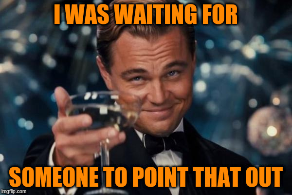 Leonardo Dicaprio Cheers Meme | I WAS WAITING FOR SOMEONE TO POINT THAT OUT | image tagged in memes,leonardo dicaprio cheers | made w/ Imgflip meme maker