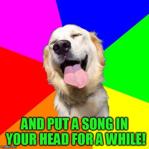 Anti Pun Dog | AND PUT A SONG IN YOUR HEAD FOR A WHILE! | image tagged in anti pun dog | made w/ Imgflip meme maker